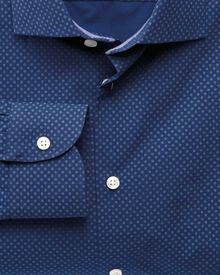Slim fit semi-cutaway collar business casual printed blue shirt