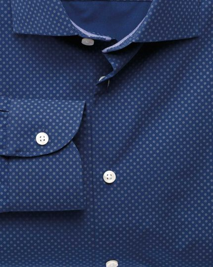 Extra slim fit semi-spread collar business casual printed blue shirt