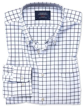 Classic fit button-down non-iron Oxford navy windowpane check shirt