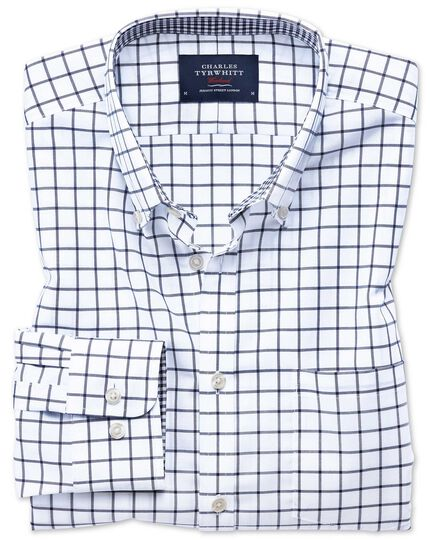 Bügelfreies Classic Fit Oxfordhemd in Marineblau mit Windowpane-Karo