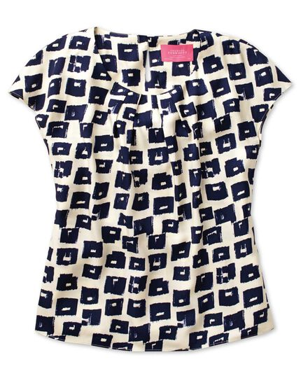 Women's semi-fitted navy and cream abstract block print shell top
