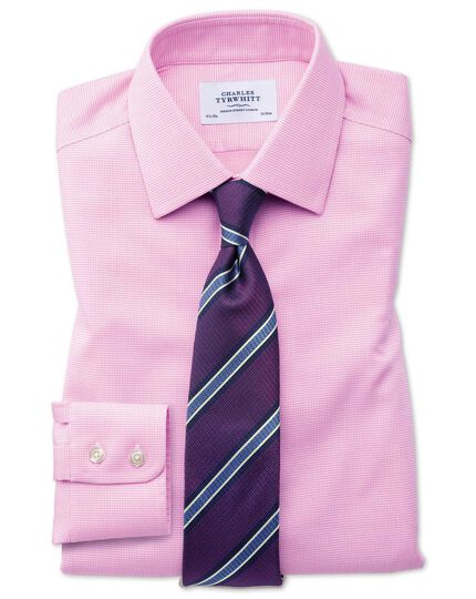 Bügelfreies Slim Fit Hemd in rosa mit gewebten Quadraten