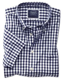 Bügelfreies Slim Fit Kurzarmhemd aus Popeline in Marineblau mit Gingham-Karos