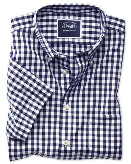 Slim fit button-down non-iron poplin short sleeve navy blue gingham shirt
