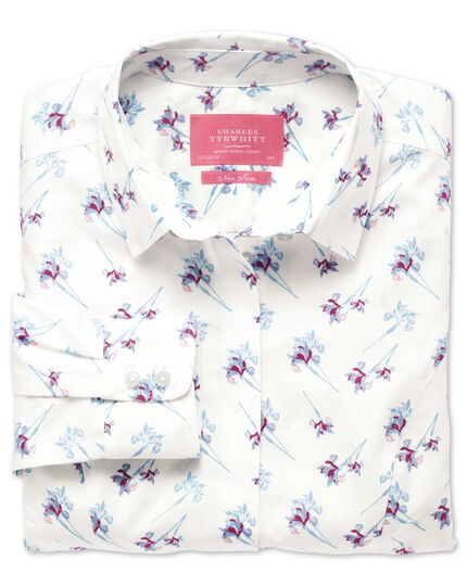 Women's semi-fitted non-iron cotton iris printed multicolour shirt