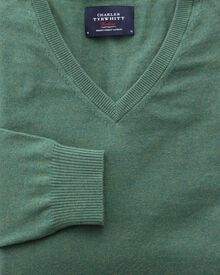 Mid green cotton cashmere v-neck jumper