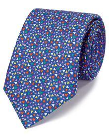 Royal blue multi linen luxury Italian triangle Madras tie