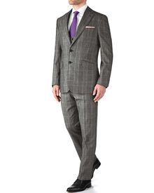 Grey slim fit check business suit