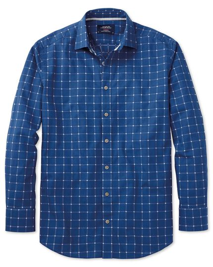 Classic fit dobby blue and white check textured shirt