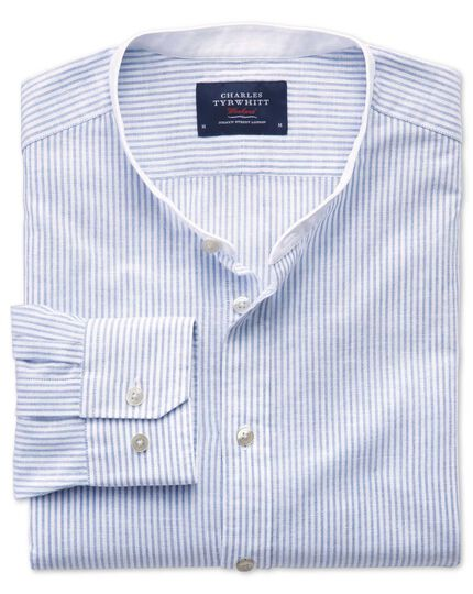 Classic fit collarless mid blue stripe shirt