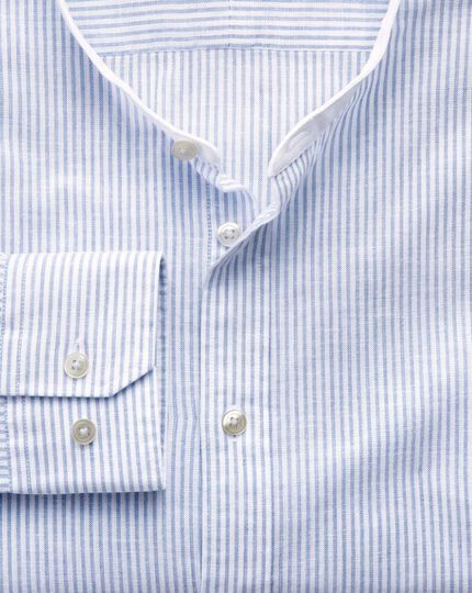 Slim fit collarless mid blue stripe shirt