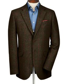 Dark olive slim fit windowpane British tweed jacket