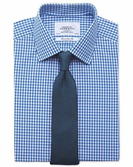 Extra slim fit gingham royal blue shirt