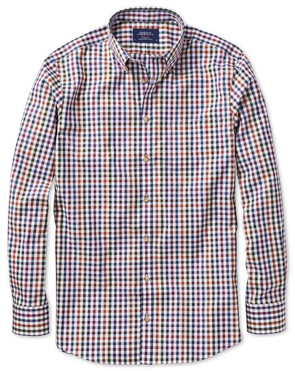 Slim fit button-down non-iron poplin berry multi gingham shirt
