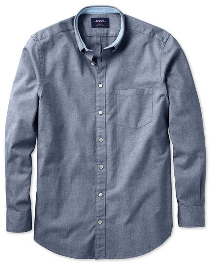 Slim fit indigo blue plain washed Oxford shirt