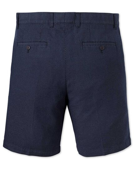Dark navy dobby slim fit shorts