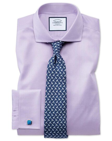 Extra slim fit cutaway collar non-iron puppytooth lilac shirt