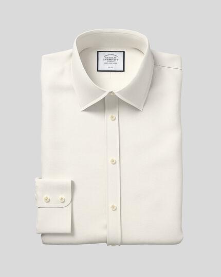 Classic fit non iron poplin cream shirt
