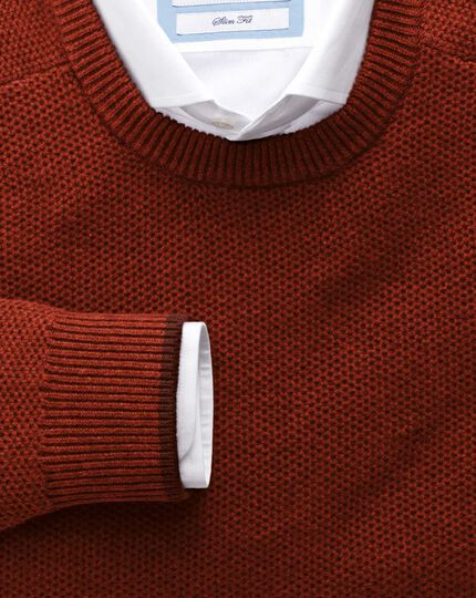 Copper merino cotton crew neck jumper