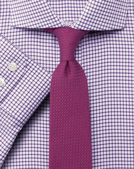 Slim fit non-iron spread collar basketweave check purple shirt