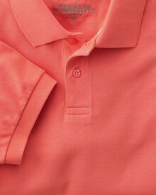 Classic fit coral pique polo