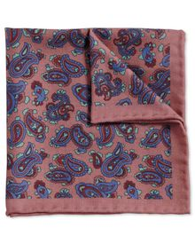 Pink and royal classic printed wool paisley pocket square