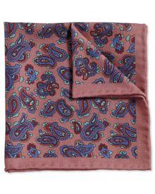 Pochette de costume classique rose et belu roi en laine à motif cachemire