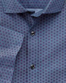 Slim fit short sleeve printed chambray geometric shirt