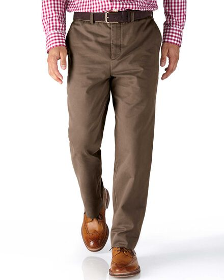 Light brown classic fit flat front chinos
