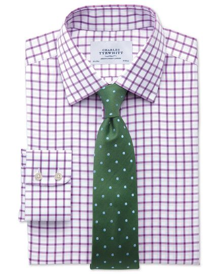 Extra slim fit non-iron twill grid check purple shirt