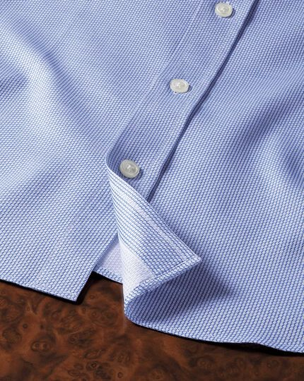 Extra slim fit Egyptian cotton diamond texture mid blue shirt