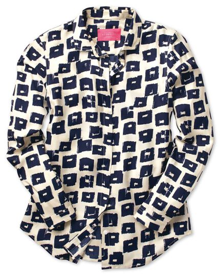 Women's semi-fitted navy and cream abstract block print blouse