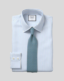 Slim fit non-iron twill stripe white and sky shirt