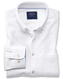 Classic fit white plain washed Oxford shirt