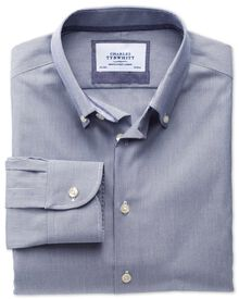 Slim fit button-down collar non-iron business casual navy shirt