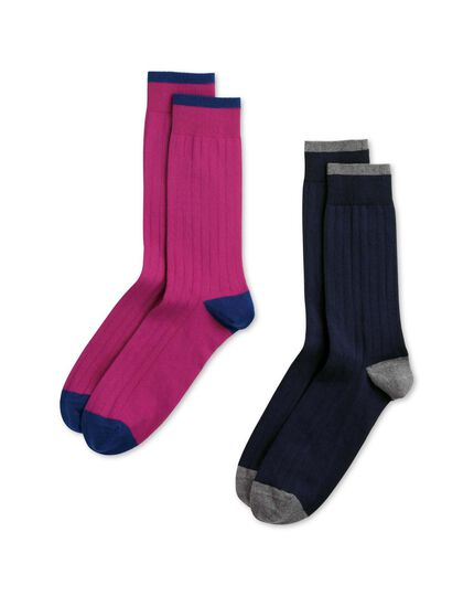 Navy and pink cotton rich ribbed 2 pack socks