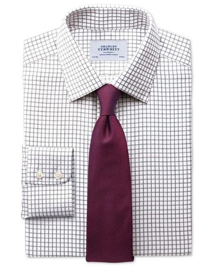 Bügelfreies Slim Fit Hemd in Braun mit Windowpane-Karo