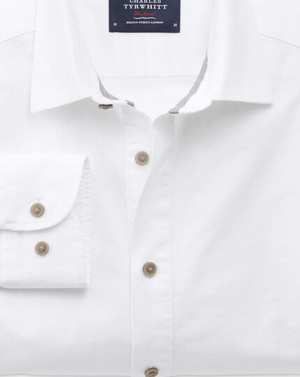Slim fit spread collar popover white shirt
