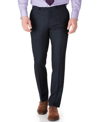 Navy check slim fit saxony business suit trousers