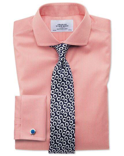 Slim fit cutaway non-iron puppytooth coral shirt