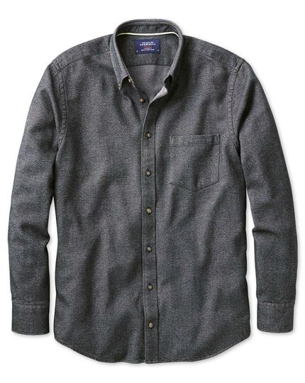 Slim fit charcoal Donegal shirt