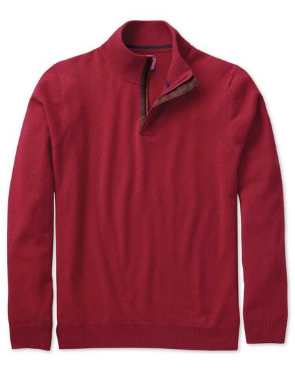 Red cashmere zip-neck sweater
