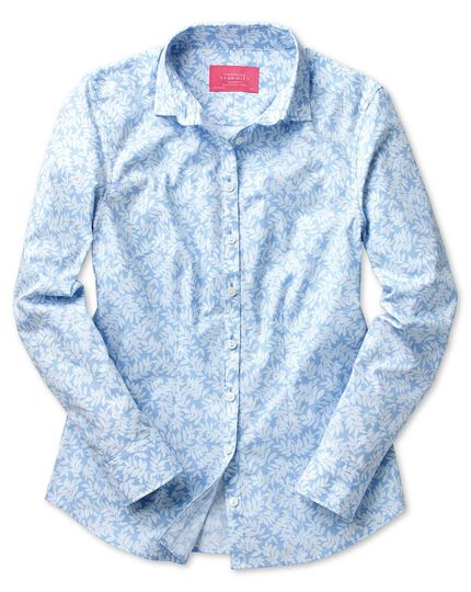 Women's semi-fitted sky leaf print shirt