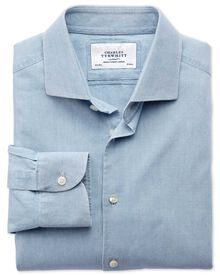 Slim fit semi-cutaway collar business casual chambray denim blue shirt