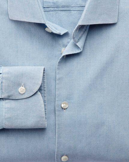 Slim fit semi-spread collar business casual chambray denim blue shirt