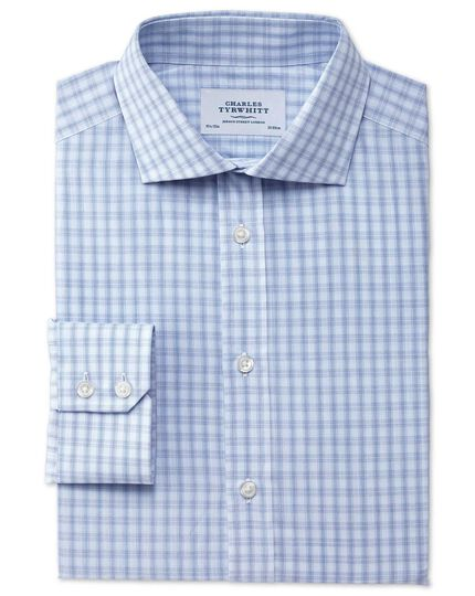 Extra slim fit cutaway collar Egyptian cotton compact check blue shirt