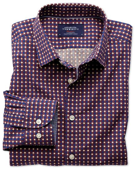 Slim fit blue and orange spot print shirt