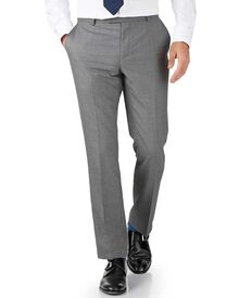 Silver slim fit British Panama luxury suit trousers
