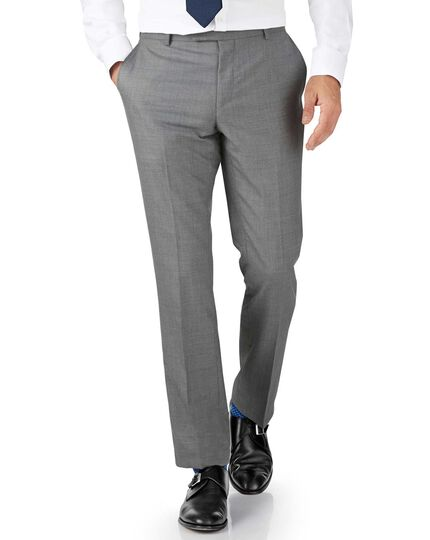 Silver slim fit British Panama luxury suit trouser