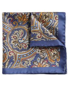 Royal and gold classic printed ornate paisley pocket square